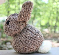 One Square Stuffed Bunny [knitting pattern]