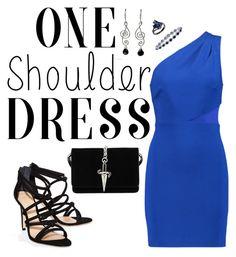 """#OneShoulderDress"" by lady-ro on Polyvore featuring moda, Halston Heritage, Schutz, Cesare Paciotti y NOVICA"