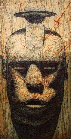 TP (Tiempo perdido) 1998 Serie: Las máscaras de Arriaza Aguafuerte 2 planchas de cobre 17x9 cm. Papel Michel 300 gr. 38x27,5 cm.  Edición 30 ejemplares. Editada por: Taller de Pradillo, Madrid — en Madrid 1998.