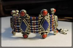 """925 STERLING SILVER TIBETAN LAPIS LAZULI & CORAL 10"""" LONG FABULOUS BRACELET A HOLIDAY TREASURE AND GREAT GIFT - very  beautiful jewelry  - Wonderful Unique piece - see more details - http://www.ebay.com/itm/925-STERLING-SILVER-TIBETAN-LAPIS-LAZULI-CORAL-10-LONG-FABULOUS-BRACELET-156-/271541134177?ssPageName=STRK:MESE:IT"""