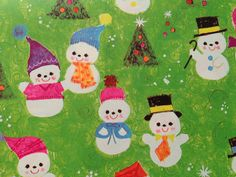 Vintage Christmas Gift Wrapping Paper - Cheerful Snowman Family and Friends - Juvenile Christmas - 1 Unused Full Sheet Gift Wrap