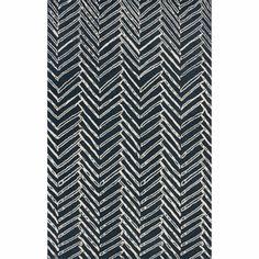 Handmade Chevron Denim Wool Rug (7'6 x 9'6)