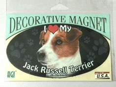 I LOVE MY JACK RUSSELL TERRIER DOG RESCUE DECORATIVE CAR FRIDGE Magnet 6 INCH  #AGI #JACKRUSSELL #JACKRUSSELLTERRIER