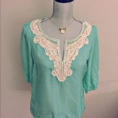 Anthropologie Silk & Lace Blouse This is a semi-sheer, lace embroidered, silk blouse from Anthropologie. It is gorgeous, NWT, and never worn. It is a stunning deep mint color. Anthropologie Tops Blouses