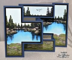 """Stamps from Stampscapes: """"Lakeside Cove Lg,"""" """"Rocks and Grass Lg,"""" """"Gulls."""" Glossy white cardstock, glossy black, and SU Night of Navy cardstock. Try-Fold Shutter Card. Tri Fold Cards, Fancy Fold Cards, Folded Cards, Trifold Shutter Cards, Screen Cards, Nautical Cards, Karten Diy, Step Cards, Card Patterns"""