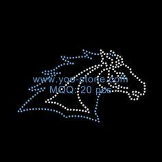 Wholesale New Design Horse Head Iron On Rhinestone Transfer