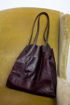 CIBADO leather bags....Entirely hand sewn brown leather soft slouchy tote. Handles are made from old old horse tack sourced from barns all over Colorado  - home of Cibado.