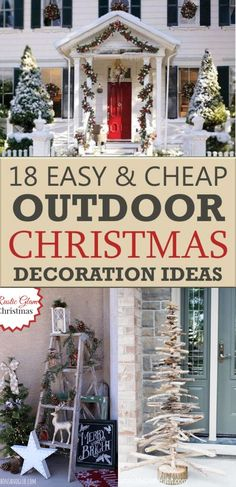 Cheap Christmas Trees, Classy Christmas, Christmas Porch, Beautiful Christmas, Christmas Crafts, Outdoor Lighted Christmas Decorations, Holiday Decor, Holiday Centerpieces, Rustic Christmas
