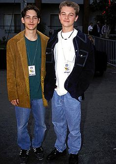 Tobey Maguire and Leonardo DiCaprio in Hollywood in 1991 (Vincent Zuffante/Star File). They're just babies!