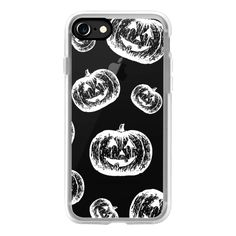 Modern white chalk halloween pumpkins pattern by Girly Trend - iPhone... ($40) ❤ liked on Polyvore featuring accessories, tech accessories, phone cases, iphone case, pattern iphone case, apple iphone case, iphone cover case, iphone cases and print iphone case