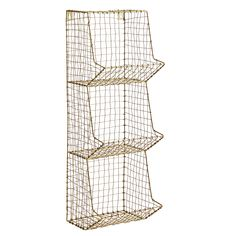 This three tier wire rack in a brass finish is a versatile and stylish storage solution. Looks great in any room. Measures: D 19 x W 18 x H 60 cm;Simply affixes to the wall on using two screws. Height: 60cm Width: 60cm Depth: 20cm Brass coated iron. Worldwide shipping. Hallway Shelving, Shelving Units, Pegboard Display, Wire Racks, Moving Furniture, Diy Furniture, Support Mural, Gold Walls, Wire Mesh