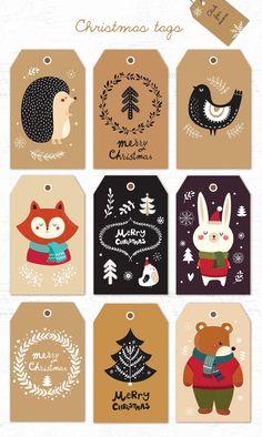 Big Christmas Bundle by MoleskoStudio on Free Printable Christmas Gift Tags, Christmas Labels, Christmas Greeting Cards, Christmas Printables, Christmas Greetings, Christmas Crafts, Merry Christmas, Christmas Decorations, Box Noel