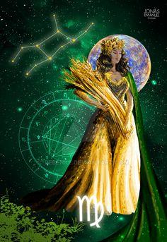 Virgo by rebenke on DeviantArt Zodiac Art, Zodiac Signs, Virgo Star, Signo Virgo, Virgo Girl, Beautiful Dark Art, Virgo Season, Witch Art, Sacred Art
