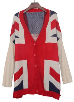 Apricot Red Union Jack Pattern Batwing Sleeve Cardigan Sweater