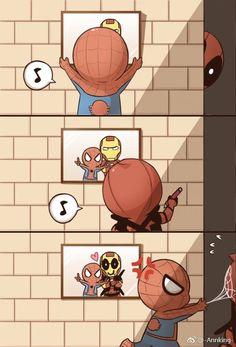 Deadpool fixes Spider-Man's picture Spideypool, Superfamily Avengers, Funny Marvel Memes, Marvel Jokes, Marvel Heroes, Baby Avengers, Avengers Comics, Disney Marvel, Deadpool Y Spiderman