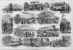 1867 Pre-Civil War scenes from a cotton plantation in Alabama. Shows slaves and the labor required to produce cotton. Alabama, Cotton Plantations, Cotton Gin, Cash Crop, Labor, Built Environment, Way Of Life, Vintage Prints, Vignettes