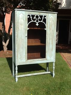 China cabinet, bar, linen closet or whatever! Painted in Annie Sloan chalk paint with pearl plaster and light and dark wax. Color is Provence.