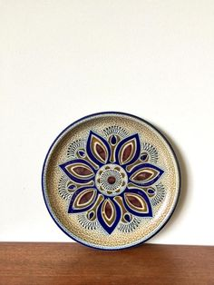 Vintage Wandteller Keramik Mid Century Teller Blumendekor