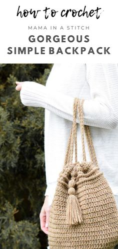I love this trendy, pretty backpack that looks like it's made from jute! There's a super easy crochet pattern to follow as well as pictures to help show you how to make it. Quick Crochet, Crochet Round, Free Crochet, Crochet Purses, Crochet Bags, Crochet Backpack, Crochet Handbags, Easy Crochet Patterns, Easy Patterns