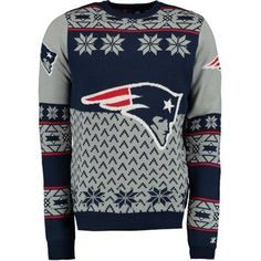 Juniors New England Patriots Navy Bedrock Mesh Fashion Sweater