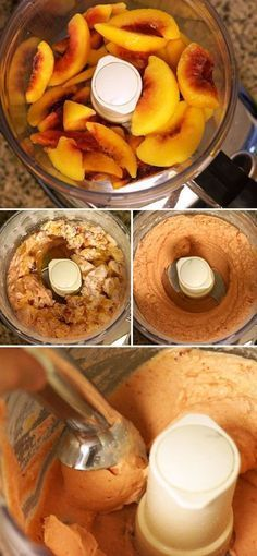 Peach Ice Cream (Dairy-free) Use agave or maple syrup in place of honey. making peach ice cream in a food processorUse agave or maple syrup in place of honey. making peach ice cream in a food processor Healthy Vegan Dessert, Healthy Sweets, Healthy Snacks, Paleo Vegan, Paleo Diet, Healthy Eating, Healthy Drinks, 30 Diet, Paleo Food