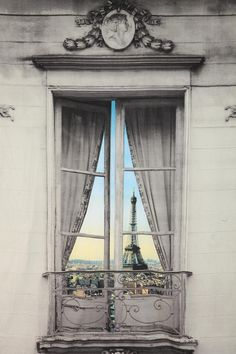 Eiffel Tower View - Found at Urban Outfitters, the Paris Window View Tapestry gives the illusion of a stunning Eiffel Tower view from a false window frame. Torre Eiffel Paris, Oh Paris, Paris Grey, Paris Ville, Window View, Through The Window, Paris Travel, Monuments, Urban Outfitters
