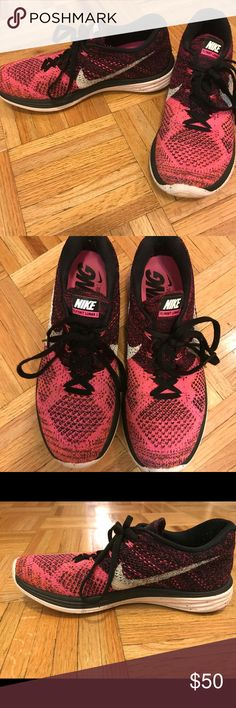 Size 8 Nike Women's Flyknit Lunar 3 Sneakers Size 8 Nike Women's Flyknit Lunar 3 Sneakers. In good condition. Pink and black and white. SHIPS FROM A SMOKE FREE HOME Nike Shoes Athletic Shoes