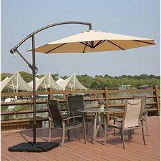 Hanging Patio Umbrella with Cross Base-Crank Adjustable Offset Cantilever Beige