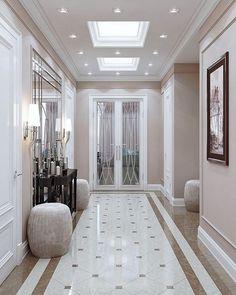40 Astonishing Home Corridor Design For Your Home Inspiration 30 - grhaku Home Floor Design, Home Interior Design, House Design, Flur Design, Plafond Design, Luxury Home Decor, Luxury Homes, Decoration Hall, Marble House