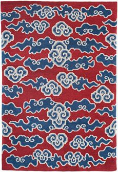 Torana Tibetan fluffy clouds rug in red and blue