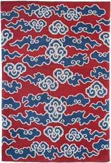 Torana Tibetan fluffy clouds rug in red and blue