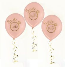 Hens Night Party Bride Tribe Balloons Pink with Gold Writing 10pack