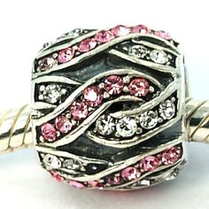 """Pro Jewelry .925 Sterling Silver """"Basket Weave CZ Encrusted Pink/White"""" Charm Bead for Snake Chain Charm Bracelet 2466 *** You can get additional details at the image link."""