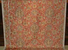 Vintage Persian rug fabric orange blue chenille velvet upholstery from Brick House Fabric: Novelty Fabric
