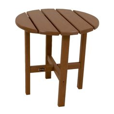 Polywood Round Patio Side Table - Brown