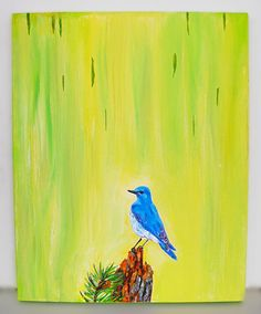 Bluebird 20x16 Original Unique OOAK Recycled Paint Acrylic Painting by Brianna at treehugginlovin on etsy.