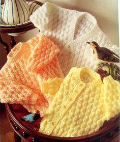 Baby Eyelet Textured Cardigans & Sweater Round/V 16 - DK Knitting Pattern Baby Knitting Patterns, Baby Cardigan Knitting Pattern Free, Knitting For Kids, Double Knitting, Baby Patterns, Toddler Cardigan, Vintage Knitting, Baby Sweaters, Sweater Cardigan