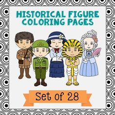 set of 28 historical figure coloring pages or posters with short biographies makes a great