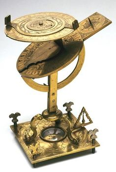 "Universal equinoctial sundial, torquetum-type. Brass; for sidereal and ordinary time. Stands 6"" high.  Date Made: c.1671-1700."