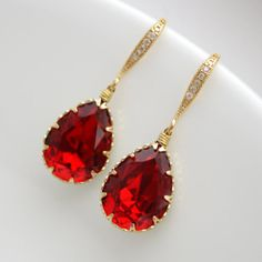 elegant studs dark red posts modern red earrings Ruby Red Earrings minimal red jewelry red gold studs red shimmer 10mm gold dipped
