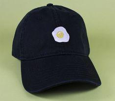 Fried Egg Baseball Hat Dad Hat Low Profile White by BrainDazed