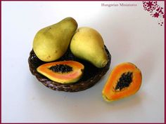 Basket of papayas by hungarianminiatures on Etsy,