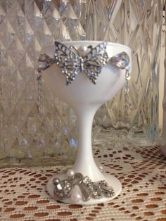 White and silver whimsical small wine glass by DesignedbyDivas, $24.95