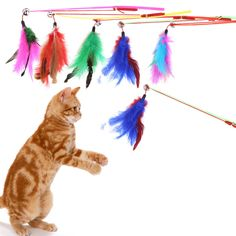 5pcs/Set Classic cat toys Cat Kitten Pet Toy Colorful Feather Rod Interactive Stick Toy Wire Chaser Wand Random color