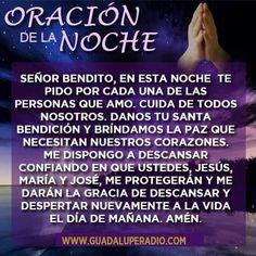 Oracion de la noche How To Become, Prayers, Religion, Faith, Peace, Reading, Happy, Happiness, Imagines