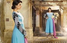 Sky Blue & Black Embroidered Cambric Cotton Semi Stitched Anarkali Suit by Eternal.