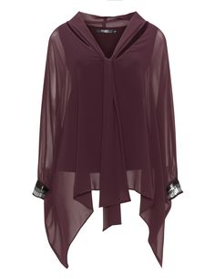Mat Oversized chiffon top in Bordeaux-Red