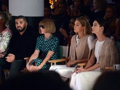 Pin for Later: Whoever's Next to Anna Wintour Has the Best Seat in the House Drake, Gigi Hadid, and Lily Aldridge All four celebs supported Serena Williams in the front row at her debut Fashion Week show.