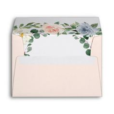 Shop Dusty Blue Gray Blush Pink Peach Floral Wedding Envelope created by RusticWeddings. Personalize it with photos & text or purchase as is! Floral Wedding Envelopes, Wedding Stationery, Hex Color Codes, Dusty Blue Weddings, Custom Printed Envelopes, Peach Flowers, Floral Watercolor, Wedding Colors, Gray
