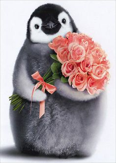 Penguin With Flower Bouquet - Birthday Card - Greeting Card by Avanti Press